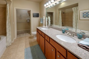 Two Bedroom Apartments for Rent in Katy, TX - Bathroom with Double Sinks, Shower and Walk-in Bedroom Closet